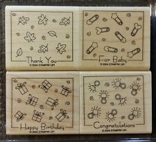 Stampin' Up FABULOUS FOUR Set of 4 Wood Mounted Rubber Stamps Lot Birthday Baby