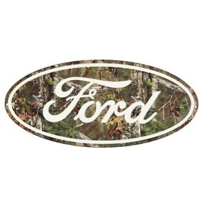 """20"""" FORD OVAL VINTAGE DISTRESSED STYLE CAMO CAMOUFLAGE EMBOSSED METAL SIGN ~ NEW"""