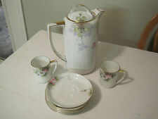 1911 Noritake Chocolate Pot  with matching Teacups and Saucers EXCELLENT SHAPE!!