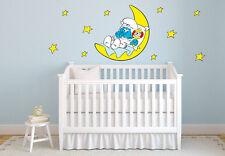 Babyschlumpf mit Mond Wandaufkleber Wandtattoo 40x40cm Kinderzimmer Deko Comic