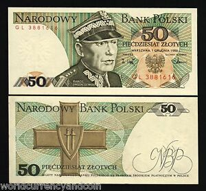 POLAND 50 ZLOTYCH P142 1988 10 BUNDLE BRICK GRUNWALD UNC MONEY LOT 1000 BANKNOTE