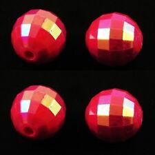 100 X 8 mm de profundidad Acrílico Rosa redonda con cuentas facetado AB