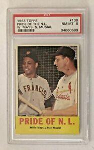 1963 Topps Baseball #138 Pride Of NL Willie Mays / Stan Musial PSA 8