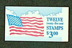 US BOOKLET SC BK161 12/25¢ OLD GLORY STAMPS~1988~OPENED~MNH/OG VF