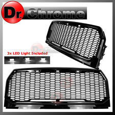 15-16 2017 Ford F150 Gloss Black ABS White LED Raptor Style Mesh Packaged Grille