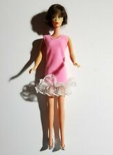 Barbie Doll Pink Sleeveless Dress With Lacy Trim & Silver Shoes NO DOLL