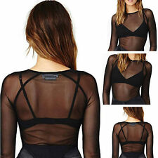 Damen Mesh Netz T-Shirt Langarm Tops Schwarz Transparent T-Shirt Blusen