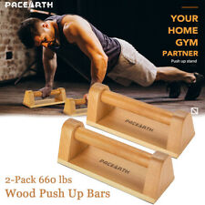 Hard Wood Wooden Parallettes Handstand Gymnastics Yoga Pushup Bars 2-Pack 660lbs