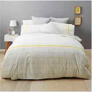 Modern Industrial Grey White & Yellow Reversible Quilt / Doona Set  King Bed