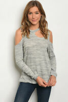 Women Cold Shoulder Keyhole Marled Gray Relaxed Top Blouse Shirt Stretch Casual