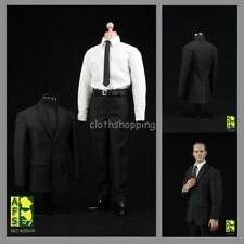 AFS A004w 1/6 White Shirt Black Suit Male Agent Clothing Set F 12'' Figure Body