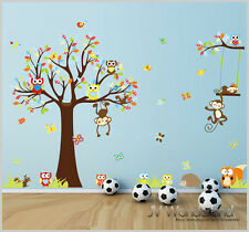 New Animals Zoo Monkey Owl BranchRemovable Kids Wall Stickers Decal Nursery 1212