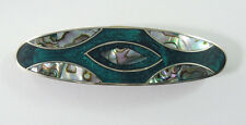 """Alpaca hair clip / Barette with abalone shell inlay green color  3 1/2"""" long"""
