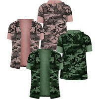 Summer Kids Girls Long Sleeve Army Camouflage Camo Cardigan Blouse Tops