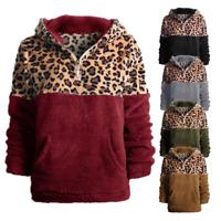 Women Half Zip Up Leopard Print Faux Shearling Pullover Coat Fuzzy Fleece Jacket