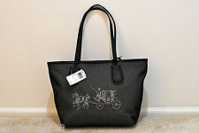 NWT COACH EMBOSSED HORSE AND CARRIAGE TAXI ZIP TOTE IN CANVAS 35337M MSRP $245