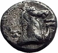 KYME in AEOLIS 350BC Authentic Ancient Silver Hemiobol Greek Coin HORSE i64715