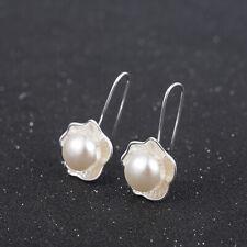 925 Silver Pearl Flower Earrings Ear Hook Women's Charms Jewelry Mother Gift new