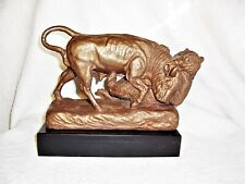 vintage 1965 Austin Productions Wall Street bull and bear bronze finish statue