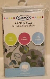 GRACO Pack N' Play Fitted Playard Sheet 39 x 27 Gray Blue Green NEW