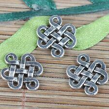 20pcs Tibetan Silver Chinese knot artistic symbol charms EF0193