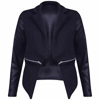 NEW WOMENS LADIES QUILTED PU BLAZER LONG SLEEVE  PVC LOOK JACKET TOP SIZE 8-16