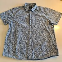 Prodigy Men's Size 3XL Short Sleeve Shirt Collared Button Front Floral Blue-SB33