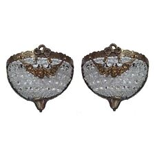 Pair Antique Replica Dumi Lune Crystal Basket French Empire Small Wall Sconces