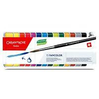 Caran d'Ache Fancolor Gouache 15 Watercolor Paint Set Tin Pans NEW