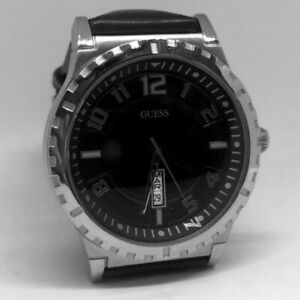 Guess W95064G1 Black Dial with Black Leather Belt Watch