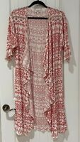 LuLaRoe S Small Cream White Red Aztec Geometric Shirley Kimono Coverup