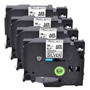 "4PK Compatible Brother Black on Matt Silver TZ TZe-M941 P-Touch Label Tape 0.7"""