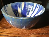 VINTAGE Studio Art Pottery Starburst Bowl Blue Drip Hand Crafted SIGNED KNOL 8""