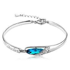 925 Sterling Silver Aquamarine Chain Oval Adjustable Bracelet Women Jewelry Gift