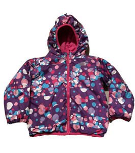 The North Face Toddler Girls Reversible Purple Pink Puffer Hooded Jacket 4T EUC