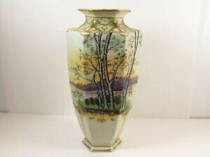 Art Deco Japan Tohina E-Oh Hand Painted Nippon Forest Lake Tree Scene Large Vase
