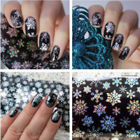 Holographic Nail Art Foils Wraps Decal Christmas Snowflake DIY Transfer Stickers