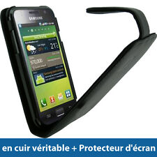 Noir Housse Cuir Véritable pour Samsung Galaxy S i9000 Android Etui Coque Case