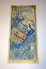Antique Advertising Bookmark Embroidered Floral Fabric! Asian Peacock Bath Maine