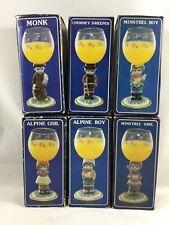 Vintage Set Of 6 Goebel Type Figural Wine Glass Goblet W.Germany