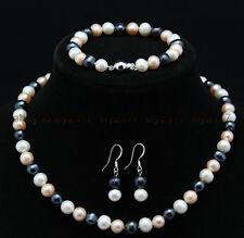 Natural 7-8mm White Pink Black Freshwater Pearl Necklace Bracelet Earrings Set