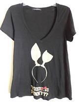 Wildfox where is bunny ?? beige  headband design black V neck T shirt SZ M