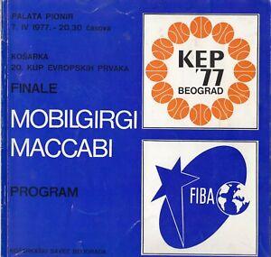 programme basketball MACCABI MOBILGIRGI VARESE Euroleague final 1977 Belgrade