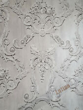 Grovesnor Grey Floral Cameo Damask Feature 3d effect Wallpaper by Debona 6217