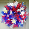 Handmade 4th of July Deco Mesh Everyday Patriotic Summer Wreath Door Decor