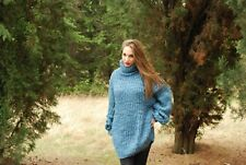 Hand Knitted Mohair Wool  SWEATER Fuzzy Soft T- Neck Pullover Dress   by SSEu
