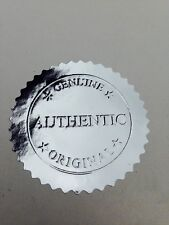 30 x Metallic Silver Embossed Foil Seal/Stickers With Authentic/Genuine/Original