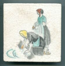"""Hand painted 5""""sq Peasant series tile by Rosalind Ord for Packard & Ord, c1935"""