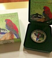 2014 Cook Island World of Parrots 1 oz Silver Proof - 3D Crimson Rosella #1,036