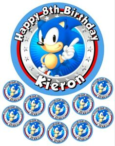 """Sonic 6.5"""" round and 10 Smaller 1.5""""  Personalised Edible Icing Cake Topper"""